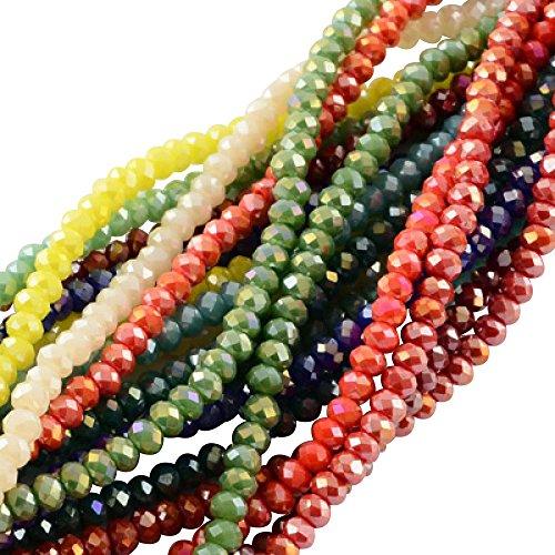 PandaHall 1500PCS Perline vetro Colorate Giada Imitazione Sfaccettate Placcate per braccialetti collane gioielli Abaco AB Colore 3.5~4x2.5~3mm Foro: 0.5mm Circa 150pcs/ Filo colore misto casuale