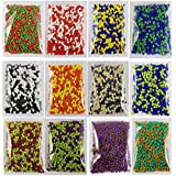 ESHOPPEE 2 Tone Colour Glass Beads for DIY Projects, 400gm - Set of 12 Colours