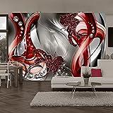 murando - Fototapete 350x245 cm - Vlies Tapete - Moderne Wanddeko - Design Tapete - Wandtapete - Wand Dekoration - Blumen Abstrakt Rot Grau Diamant Blitz a-A-0221-a-c