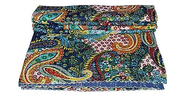 Queen size Indian Kantha Quilt Handmade Bedspread Blanket Throw Carpet Paisley