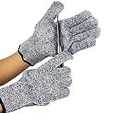 1 Paar Schnittfeste Handschuhe Schnittschutzhandschuhe mit Level 5 Schnittfestigkeit für Haus-,Garten-,oder Arbeiten in der Werkstatt 5 Größe(XXS-XL) (Grey)