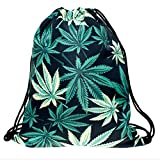 KLIMBIM Fullprint Jutebeutel Turnbeutel Gymbag Kordel Beutel Print Rucksack 9007 - Cannabis-Gras
