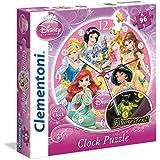Princesas Disney - Puzzle reloj, 96 piezas (Clementoni 23020.4)