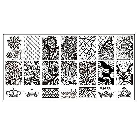 Sannysis 6 * 12cm Edelstahl-Nagel-Kunst-Platten Geometrische Sports Nails