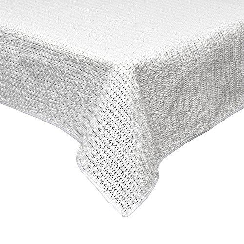 Beautissu tovaglia da giardino 130x160 cm impermeabile e antiscivolo lena - ideale per balconi camping picnic - bianco