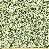 ABAKUHAUS Grün Satin Stoff als Meterware, Curly verzierten