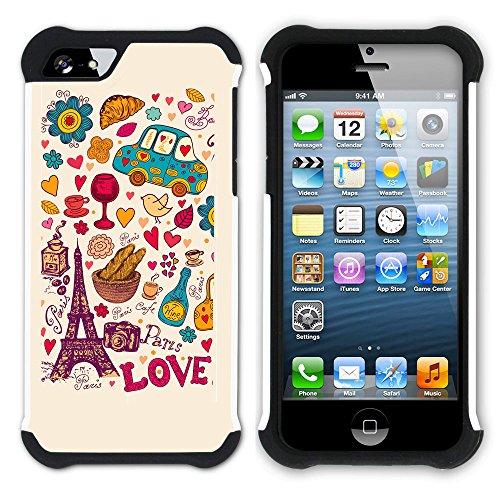 Graphic4You Keep Calm and Love Paris Design Hart + Weiche Kratzfeste Hülle Case Schale Tasche Schutzhülle für Apple iPhone SE / 5 / 5S Design #6