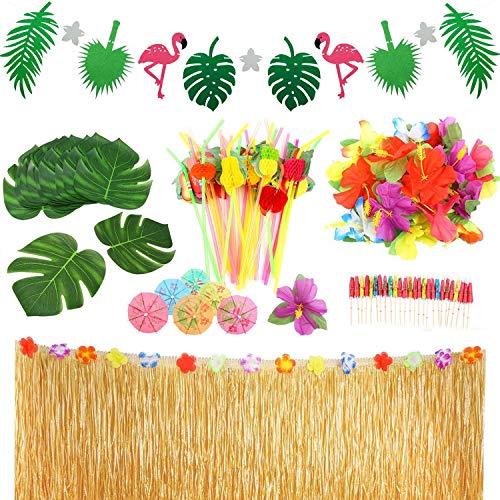 LAOZHOU Ensemble de décoration de fête Tropicale hawaïenne de 92 pièces avec Une Jupe de Table hawaïenne, des Fleurs et des banderoles