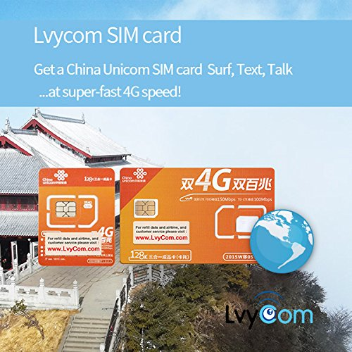 China SIM Card 6GB 4G LTE data + 50 mins local calls or 100 local texts; China local phone #