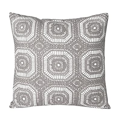 "Mika Home Embroidery Geometric Circles Accent Decorative Pillow Case Cushion Cover for 18X18"" inserts Cotton Fabric Grey White - low-cost UK light store."