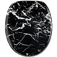 Sanilo WC Sitz mit Absenkautomatik Marmor Schwarz | hochwertige Oberfläche | einfache Montage | stabile Scharniere   A235945