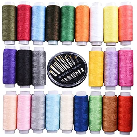 Shappy Polyester Sewing Threads Spools 250 Yards Each 24 Assorted Colors with Hand Sewing Needles 30 Assorted