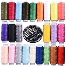 Shappy Bobinas de Hilo de Coser de Poliéster 250 Yardas Cada 24 Colores Variados con Agujas de Coser a Mano 30 Tamaños Variados