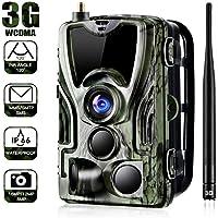 3G Wildkamera Mit HandyüBertragung, 0,3s Auslösezeit, 16MP 1080P HD GSM Jagdkamera 24m 44 IR LED IP66 Wasserdicht,Fotos,Farbvideo und Audio können international übertragen Werden.
