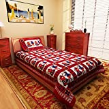 #9: eCraftIndia Couple Playing Dandia Red Design Cotton Single Bedsheet with 1 Pillow Cover