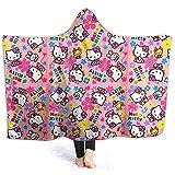Jasmin-Shop Kapuze Decke Miss You Minnie Mouse Print Superweiche Flanell Sherpa Plüsch Fleece tragbare Decke -50 'x 40'