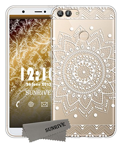 Für Huawei P-smart Hülle Silikon,Sunrive Transparent Handyhülle Schutzhülle Etui Case Backcover für Huawei 51092CTE/51092CTD/51092CTF P-smart(tpu Blume Weiße)+Gratis Universal Eingabestift