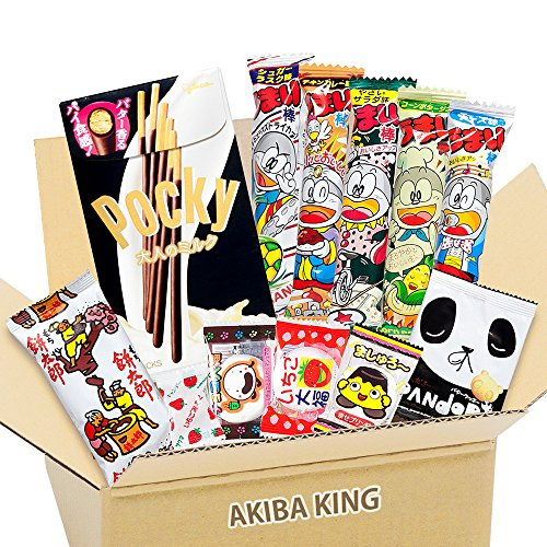 Pocky & Japanischer Snack DAGASHI mit AKIBA KING Aufkleber (Hello Snacks Kitty)