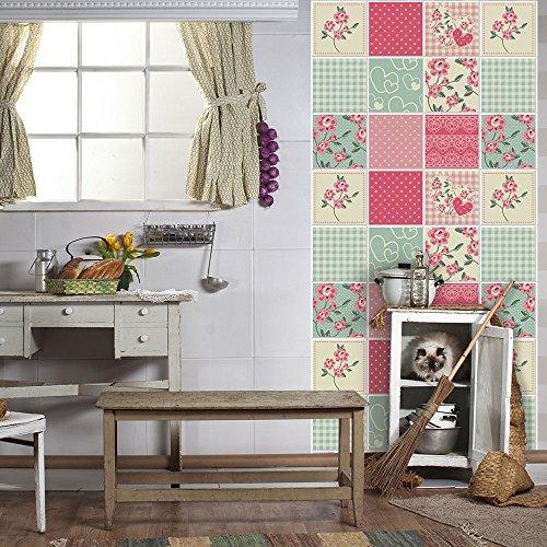 54 Adhesivo para azulejos 10x10 cm - PS00043 - Fantasía rosa 2 - Adhesivo decorativo para azulejos para baño y cocina - Stickers azulejos - Collage de azulejos