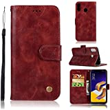 Asus Zenfone 5Z ZS620KL Case, Danallc [ Portable Wallet ] [ Slim Fit ] Heavy Duty Protective Protector Flip Cover Wallet Case Compatible With Asus Zenfone 5Z ZS620KL - Wine Red