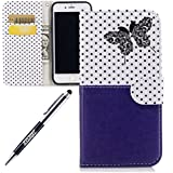 JAWSEU Coque Etui pour iPhone 7 Portefeuille Pu,iPhone 7 Étui Folio en Cuir,iPhone 7 Coque à Rabat Magnétique Housse Etui de Protection élégant Une Fleur Papillon Point d'onde Motif Coutures désign Ultra Slim Mince Pure Leather Pu Case avec Dragonne Corde Flip Wallet Protective Case Cover avec Fonction Stand et Fentes de Carte de Crédit Flexible Souple Tpu Coque Intérieure pour iPhone 7+1*Noir Stylo Paillettes-Bleu