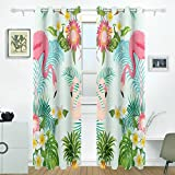 JSTEL Tropic Blume Flamingo Palm Leaf und Pflanzen Vorhänge Panels Verdunklung Blackout Tülle Raumteiler für Terrasse Fenster Glas-Schiebetür Tür 139,7x 213,4cm, Set von 2