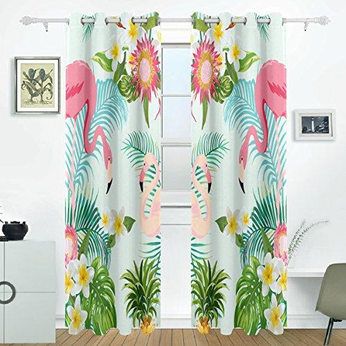 JSTEL Tropic Blume Flamingo Palm Leaf und Pflanzen Vorhänge Panels Verdunklung Blackout Tülle Raumteiler für Terrasse Fenster Glas-Schiebetür Tür 139,7x 213,4cm, Set von 2 (Leaf Palm Gewebte)