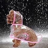 LA VIE Haustier Regenjacke Transparente Hunde Regenmantel Wasserdichte Kapuzen Regendecke mit Reflektierende Streifen Regenshutz Kleidung für Katzen Welpen Kleine Haustiere Rosa S