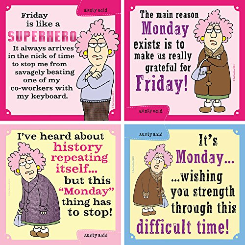 Tree-Free Greetings Lusarious Aunty Acid Magnet 4er Set Montag-Freitag Set of 4