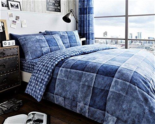 Denim Check/Bettbezug Bettwäsche Set mit Kissen Fall alle Größe, Denim Check Blue, Super King (Kissen Blue Denim)