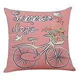 Nibesser Kissenbezüge Fahrrad Blumen Vintage Stil Dekokissenbezüge Wohnzimmer Weich Kissenhüllefür Sofa Bezughüllen Beideseitig, Blau 45*45cm