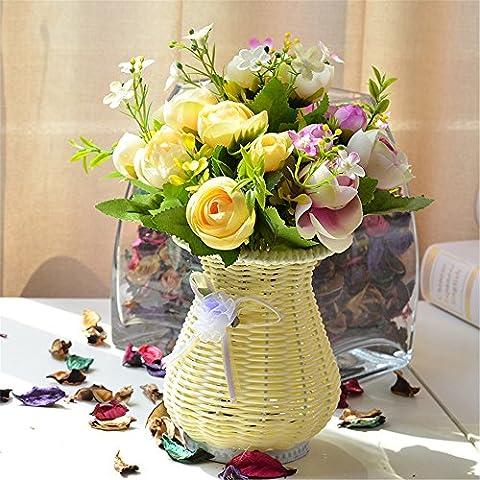 NOHOPE Rosen Emulation Blume Rattan Vase Anzug Landhausstil - Blumen Topfpflanzen Haushalt Wohnzimmer geschmückt mit Blumen silk Blume Künstliche Blumen Muttertagsgeschenk