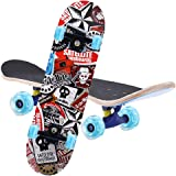 Gluckluz Skateboard Complete PRO Skateboard Double Kick 7 Layer Canadian Maple Wood Adult Tricks Skate Board for Birthday Gif