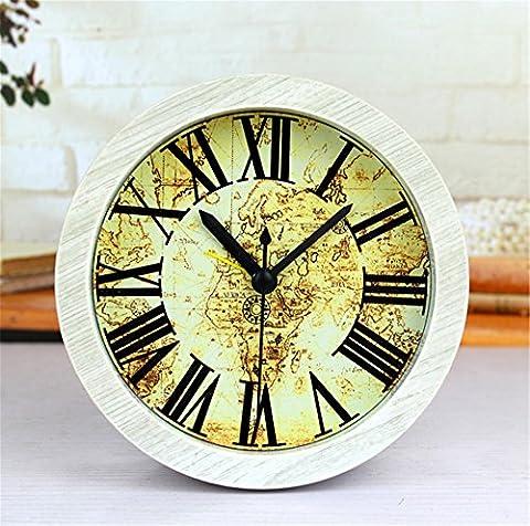 DIDADI Alarm clock Euro style qui rappelle le style de carte voyage si vieille petite horloge en bois sur une table d'été muet horloges 12