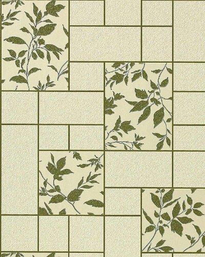 Küchen Tapete Badezimmer Tapete EDEM 146-25 Fliesen Kacheln Optik florales Muster beige grün olive - Versailles Olive