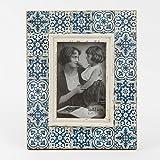 Bilderrahmen Holz Ornament blau Vintage 20x25cm