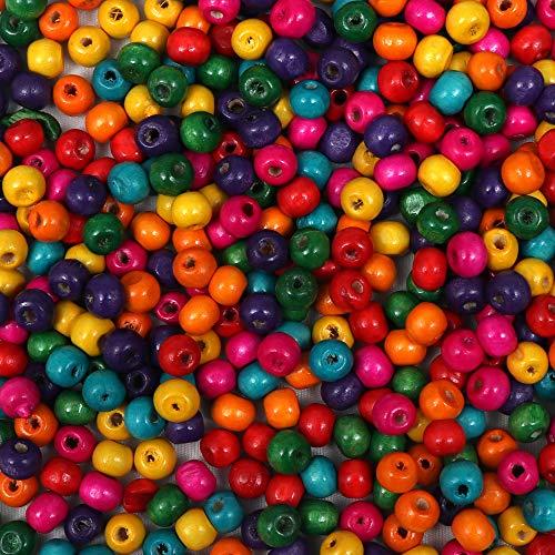 Kurtzy Holzperlen 1000 St.(ungefähr) - 8mm Bunte Holzperlen zum Basteln, Halsketten, Armbänder - Schmuckherstellung Holzperlen - Perlen Set für Handwerk - Sortiment Set aus Runden Perlen Holzkugeln