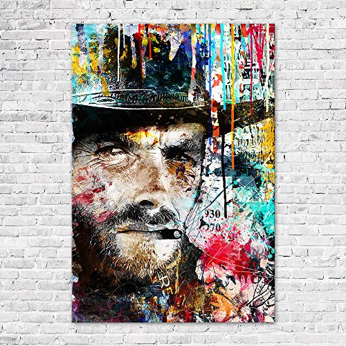 Zabarella Bild Clint Eastwood Vintage Kunstdruck auf Keilrahmen Pop Art Wanddekoration Wohnzimmer (60 x 90 cm) (Clint Eastwood Leinwand)