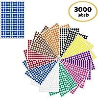 1cm Pegatinas Color Círculo Redondo Etiquetas Autoadhesivo - 10 Colores, 3000 Pegatinas
