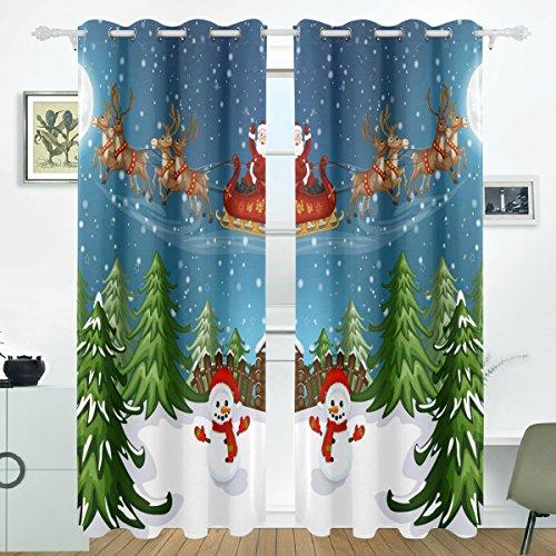 COOSUN Weihnachtsmann im Schlitten mit Rentier Blackout Vorhänge Verdunkelung thermische isoliert Polyester Tülle oberen Blind Vorhang für Schlafzimmer, Wohnzimmer, 2 Panel (55 x 84 l Zoll) -