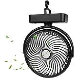 Ventilatore da Campeggio, Portatile Ventilatore USB, Ventilatore da Tavolo con Luce LED, 5000mAh, 3 velocità Rotazione…
