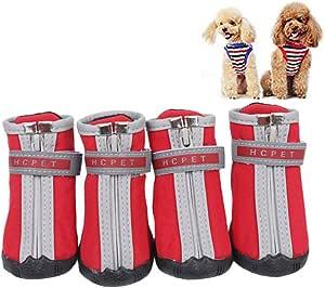 Rysmliuhan Shop Hundeschuhe Wasserdicht Pfotenschutz Hund Hitze Hundeschuhe Für Kleine Hunde Hundeschuhe Hundestiefel Für Verletzte Pfoten Wasserdicht Red S 2 Küche Haushalt