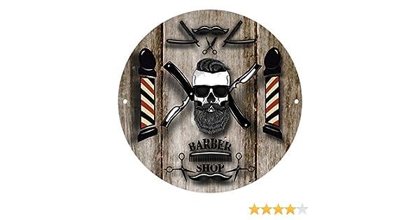 Modern Barber Shop Decor Barber Shop Round Metal Sign 280/mm//Diametro 27,9/cm in Metallo da Parete 904 Marrone e Nero