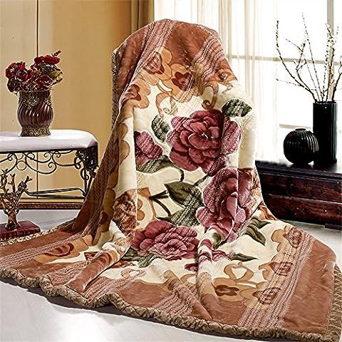 BDUK Invierno rojo boda tallada estéreo con una doble capa de espeso el otoño y el invierno cálido encajes Raschel Manta