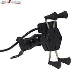 AllExtreme Spider Mobile Holder Cradle Stand with 360 Degree Rotations and USB Charging Port for Bike Rear View Mirror (Black)