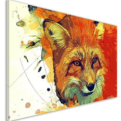 Angebot Wandbild Kunstdruck Street Art 60x40 cm - Tiere Hirsch Löwe Kunst Druck auf Leinwand (Fuchs) -