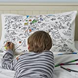 Federa Doodle, colorabile, Cotone, White, approximately 75x50cm to fit standard UK pillow