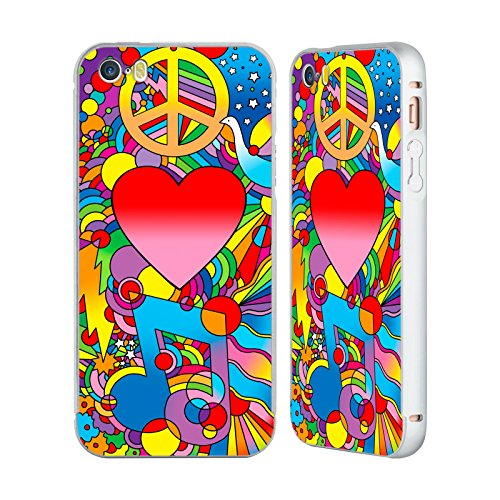 Ufficiale Howie Green Pop Art Cuori Argento Cover Contorno con Bumper in Alluminio per Apple iPhone 5 / 5s / SE Pace Amore Musica
