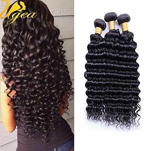 Ugeat Deep Wave/Boucle Profonde Extensions de Tissage Cheveux Noir Naturels Tete Pleine 300g 22 Pouces 24 Pouces 26 Pouces Vierge Bresilien Cheveux Humains 1b#
