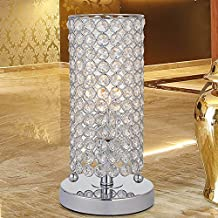 Lámpara de mesa de cristal, lámpara de salón resistente, lámpara de luz de noche, lámparas de mesa para el dormitorio, sala de estar, cocina, comedor (plata)